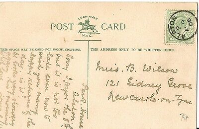 1906 card with thimble postmark Alston code B 9 Apr