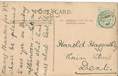 1907 card with thimble postmark Sedburgh 20 Aug