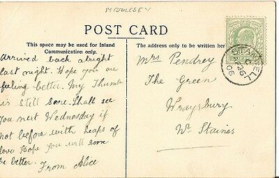 1906 card with thimble postmark Stanwell code C 26 Apr