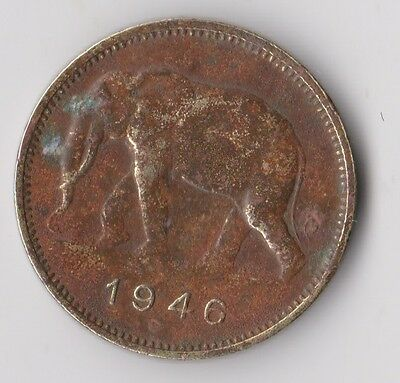 BELGIAN CONGO 2 Francs 1946 KM# 28 BEAUTIFUL ELEPHANT +++
