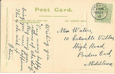 1910 card with thimble postmark Lowestoft 18 Mar