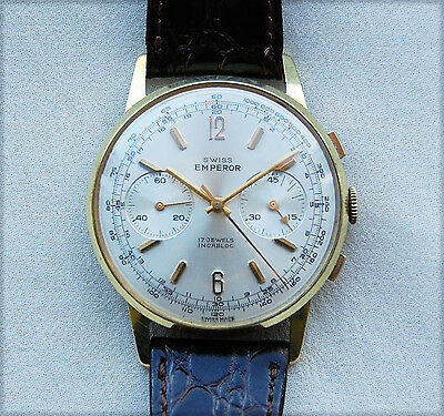 Swiss Emperor - CHRONOGRAPH – Gold Plate - Mens Wrist Watch - 1960's