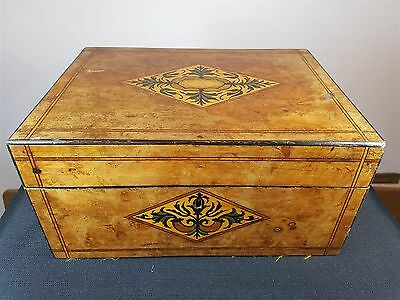 ANTIQUE INLAID WOOD BOX JEWELLERY or LETTER WRITING STORAGE WOODEN INLAY JEWELRY