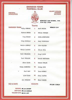 SWINDON TOWN RESERVES v NORWICH CITY 90-1 Football Combination
