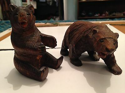 Pair Of Lovely Black Forest Bears With Glass Eyes
