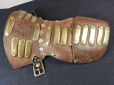 Vintage Brown Leather Brass Falconry Glove Suit Of Armour Armor Archery Medieval
