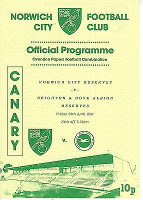 NORWICH CITY RESERVES v BRIGHTON & HOVE ALBION 90-1 Football Combination