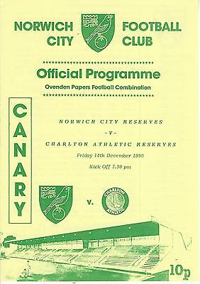 NORWICH CITY RESERVES v CHARLTON ATHLETIC 90-1 Football Combination Programme