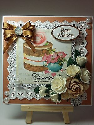 Handmade Card Topper floral Roses French Paris Time for cake & sentiment