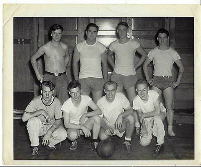 WW2 ARMY 1940s Era Photo 8 x 10 Group of  Men Basketball Team Photo