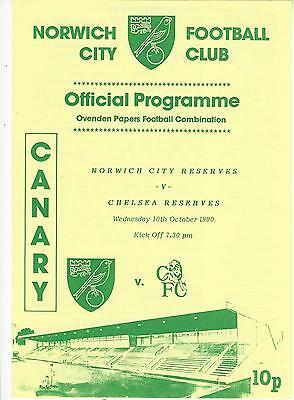 NORWICH CITY RESERVES v CHELSEA 90-1 Football Combination Programme