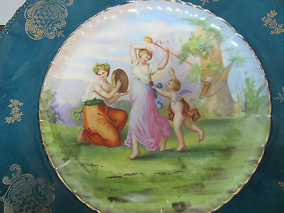 Fabulous Antique handpainted Plate, Cupid with Ladies In Garden, Signed Kaufmann