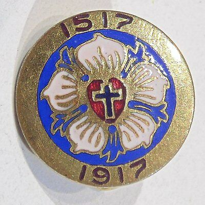 Antique Martin Luther 95 Theses 400th anniversary 1517-1917 pin Whitehead & Hoag