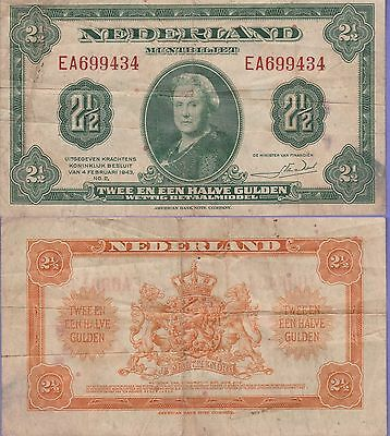 Netherlands 2 1/2 Gulden Banknote,1943 Very Fine Condition Cat#65-A-9434