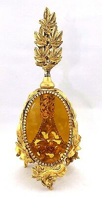 Rare!! Vintage Guildcrest Ormolu 24k gold plated amber glass Perfume Bottle 9.5""