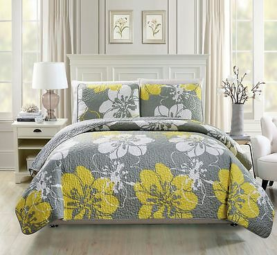Beautiful Yellow Grey Black Red Floral 3 Pcs Quilt Coverlet King Queen Set