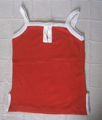 Vintage Girls Sun Top - Age 8-10 Years Approx - Red/White - Cotton - New