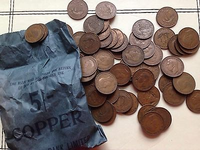 George VI Half Pennies 1937-1952 5 Shillings 120 Coins With Barclays Bank Bag