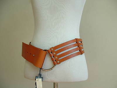 Banana Republic Designer Womens Brown Leather Belt with Silvertone Buckle NWT