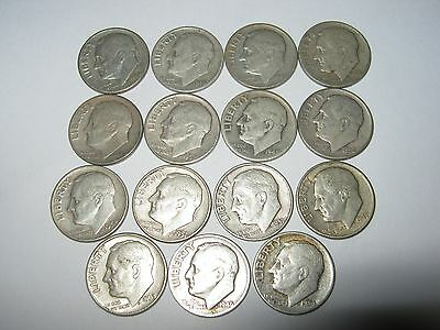 Lot of 15 US silver dime from 1946 to 1963