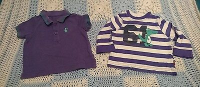 Mothercare baby set 3-6 Months purple polo shirt striped top crocodile