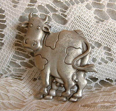 Vintage 1988 Jonet Jewelry JJ Pewter Spotted Country Farm Cow  PIN BROOCH A