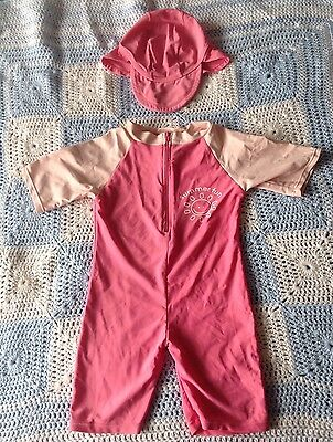 """Pink Sunsuit With Hat 12-18 Months """"Summer Fun"""""""