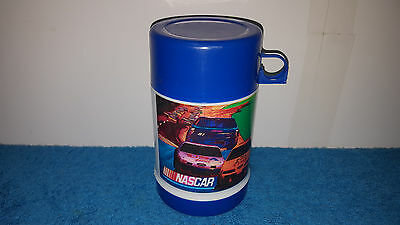 Nascar Lunch Box Thermos Blue & White With Drink Cup Lid