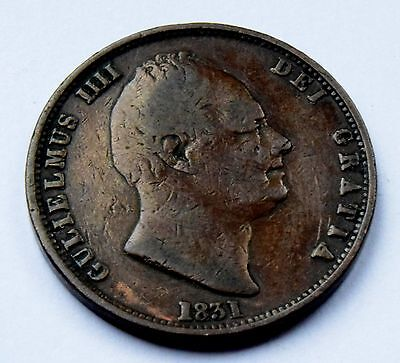 1831   King  William   III   Half   Penny  (1/2d)  Copper Coin