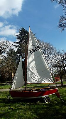 Vintage Heron wooden sailing dinghy with Snipe combi trailer & launch trolley.