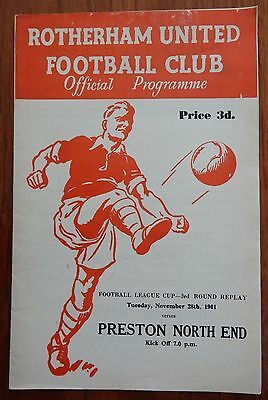 Rotherham United v Preston North End League Cup 3rd Round Replay 28 November 61