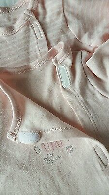Baby Girl Sleepsuits Pack of 2 Pink Newborn 0-3 months mothercare NEW but washed