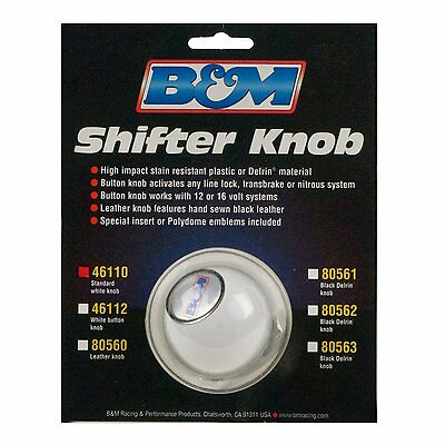 B&M 46110 White Replacement Shifter Knob with SAE Threads  BM46110