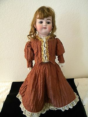 "Beautiful 4 pc dress+stockings for antique 18"" doll,authentic antique material"