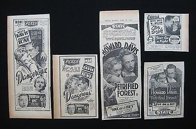 BETTE DAVIS 1936 movie advertising Petrified Forest Satan Met A Lady Dangerous