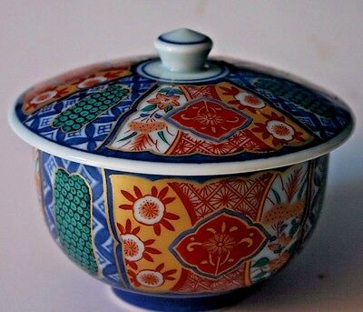 Antique Japanese Porcelain Arita  Imari Small Bowl  rare green and orange color