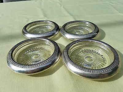 "Vintage Sterling Silver and Glass 4"" Coasters ~~~~~~  (Set of 4)"