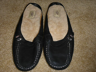NWOB UGG Leather Black Clogs Mules size 12
