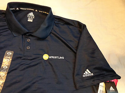 Nwt Adidas Golf Climalite Ncaa,tcnj Wrestling Polo S/s Shirt,xl Loose Men,navy