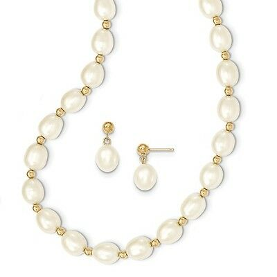 14k Yellow Gold Bead and 7-8mm FWC Pearl Necklace/Earrings Post Dangle Set