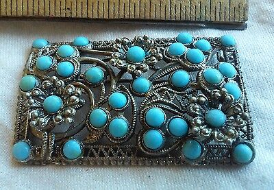 Vintage art deco LARGE pin filigree silver turquoise glass stone czech persian?