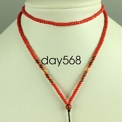 Chinese red stone necklace, pendant preparation rope