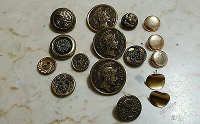 Lot Of 16 Vintage Metal Buttons