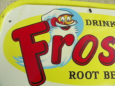 Frostie Root Beer Tin Black Board Sign With Frostie Man Very Nice!