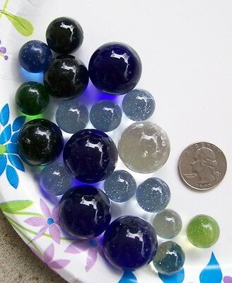 Lot of Vintage Solid Color Clear Glass Marbles / Shooters