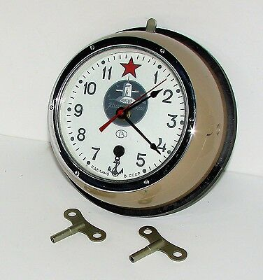 Russian Soviet Submarine Clock USSR With 2 Keys and Backing Mount