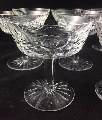 """Set of 8 Waterford Crystal LISMORE 4 1/8"""" Champagne Sherbet Glasses Gothic Mark"""