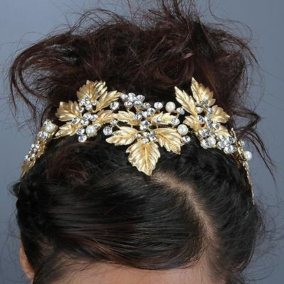 Bridal wedding Head Piece Hair Accessories Bling Diamontes Womens Bride Gold