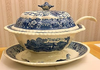 Vintage 4pc Soup Tureen & Ladle Transferware Staffordshire English Scenic Adams