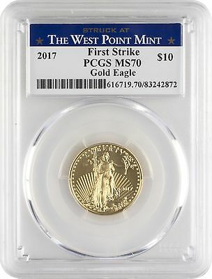 2017 $10 Gold Eagle PCGS MS70 First Strike - West Point Label